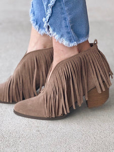 The Carrie Fringe Bootie in Taupe