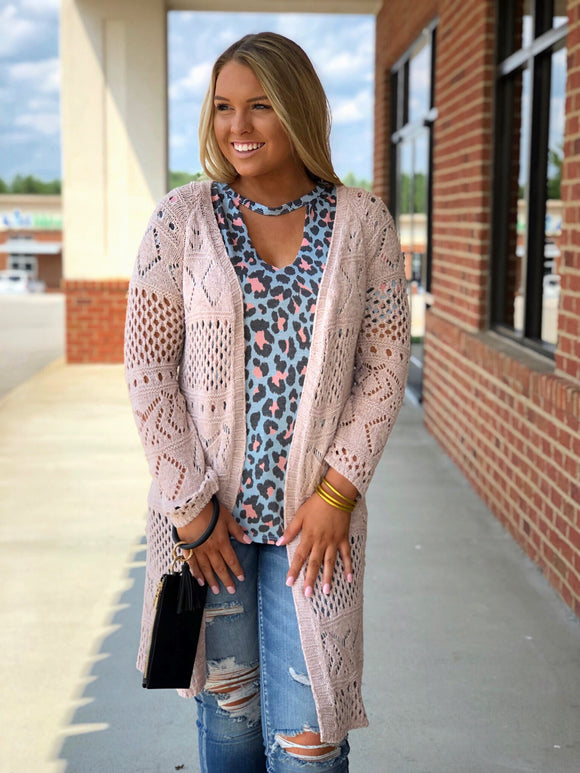 Long Knit Blush Cardigan