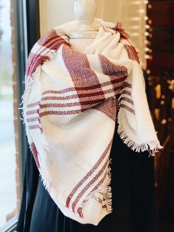 Crisp Air Plaid Blanket Scarf in Red/White