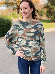 The Shannon Cowl Neck Top in Camo