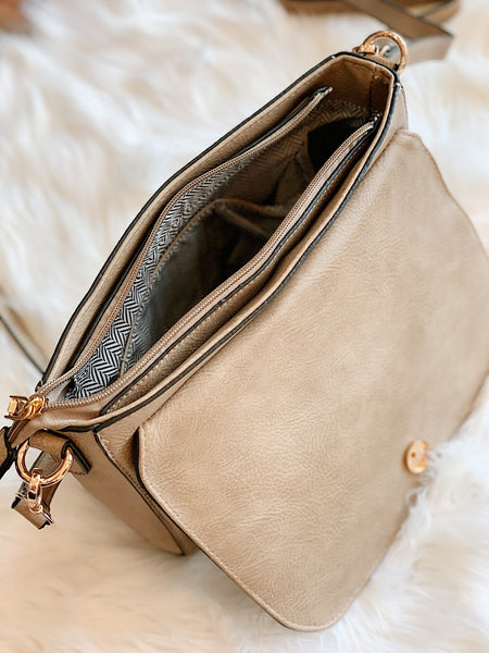Whipstitch Flapover Crossbody in Khaki