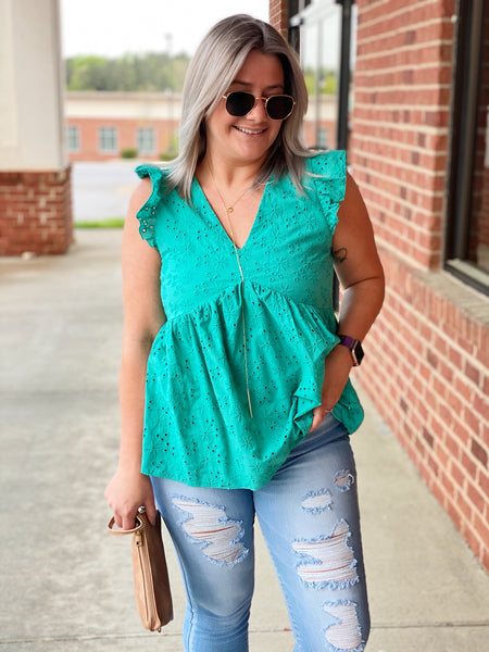 The Briget Top in Emerald