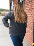 Feeling Sassy Leopard Sweatshirt in Grey
