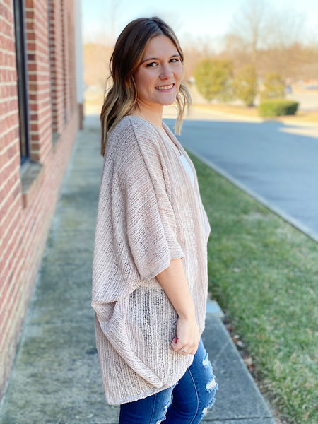 The Parker Dolman Cardigan in Latte