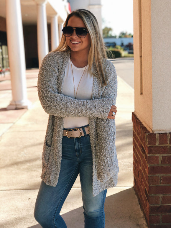 Cozy Comfort Popcorn Cardigan in Grey