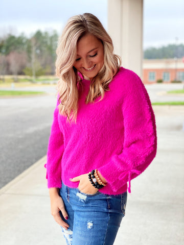 The Demi Fuzzy Sweater in Hot Pink