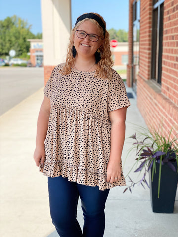 The Waverly Top in Taupe/Leopard
