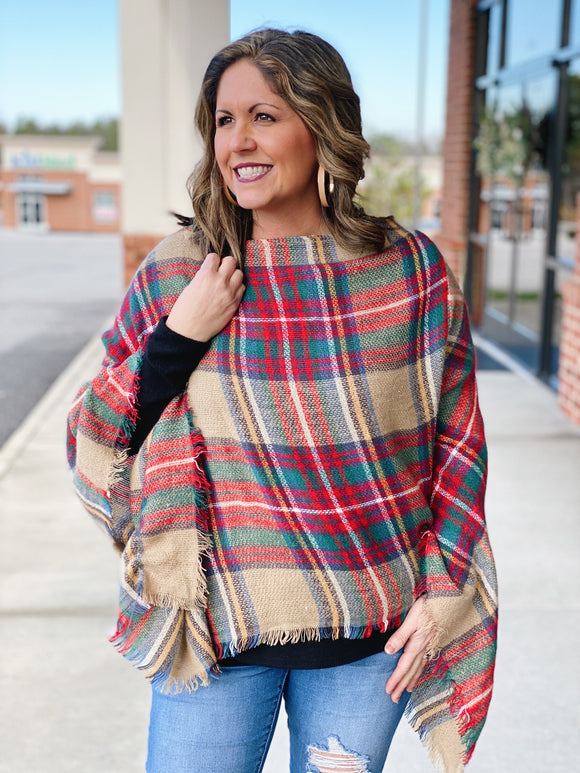 Keep Me Warm Plaid Poncho in Red/Multi