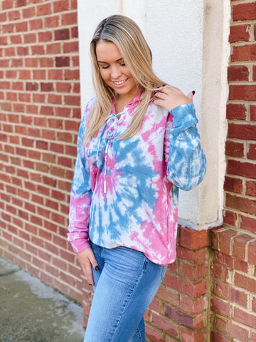 The Hope Tie-Dye Pullover in Pink/Multi