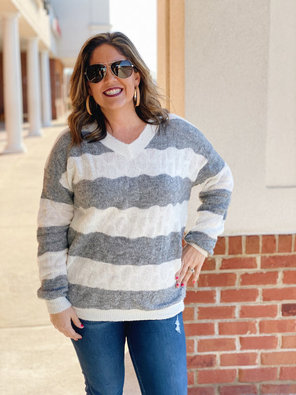 The Bev Striped Sweater in Grey/Ivory