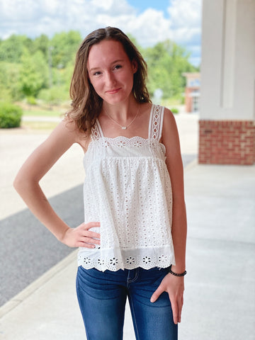 The Brittany Eyelet Tank Top in White