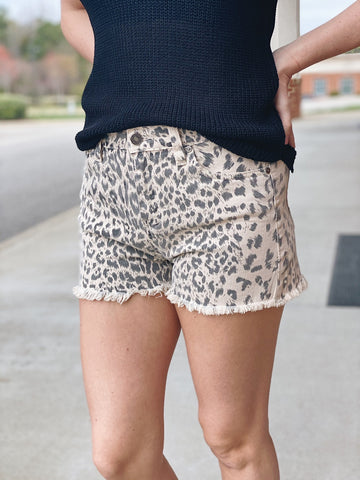 KanCan Hazel High Rise Leopard Shorts in Sand