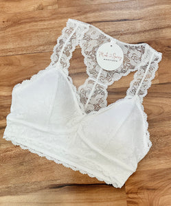 Lace Hourglass Back Bralette in White