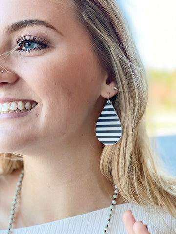 Teardrop Stripe Leather Earrings in Black/White