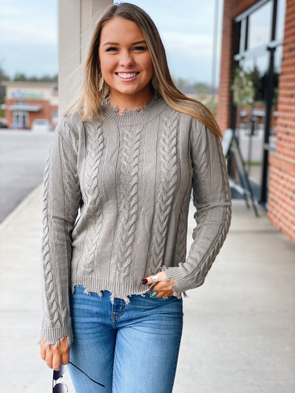 The Bailey Distressed Sweater in Grey