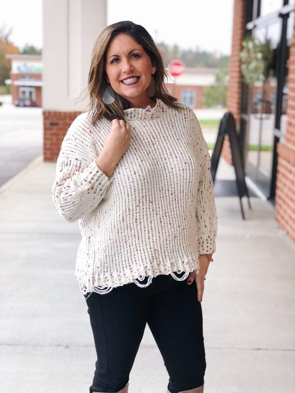 Go Where I Want Distressed Popcorn Sweater in Ivory/Multi