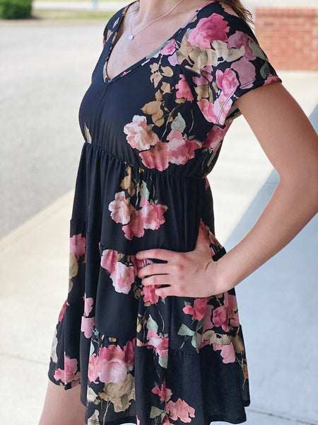 The Blaire Floral Print Dress in Black