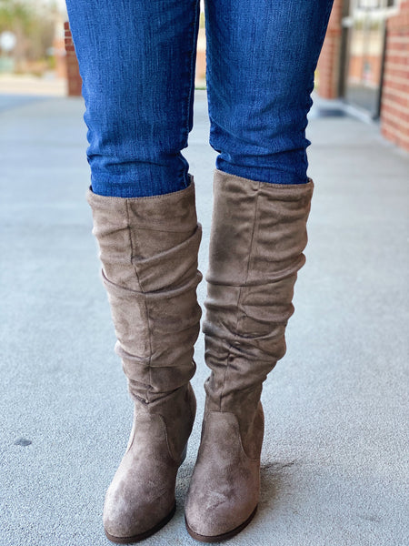 The Sasha Suede Tall Boot in Taupe