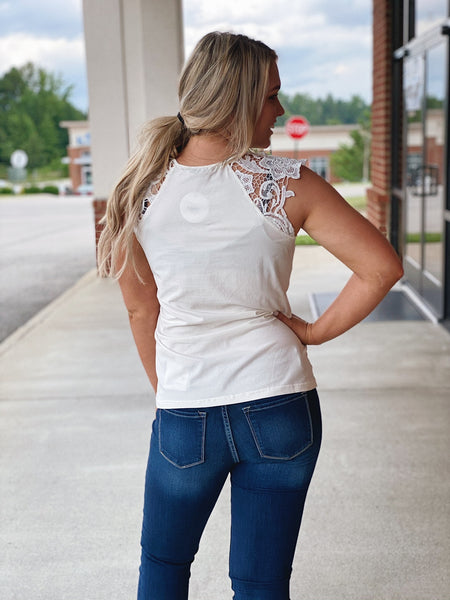 The Demi Lace Detail Top in White