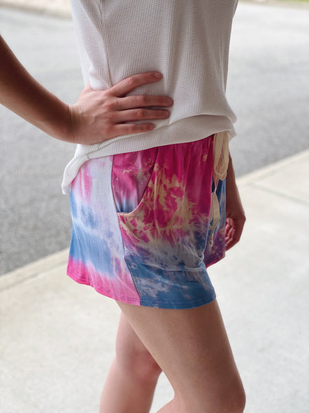 The Ryann Casual Shorts in Tie Dye