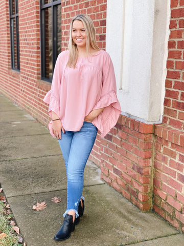 The Helen Ruffle Sleeve Top in Blush