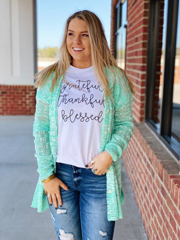 """Grateful, Thankful, Blessed"" Top in white"