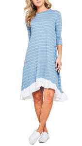 Stripe Ruffle Hem Midi Dress Blue