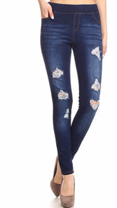 Distressed Dark Wash Denim Jeggings