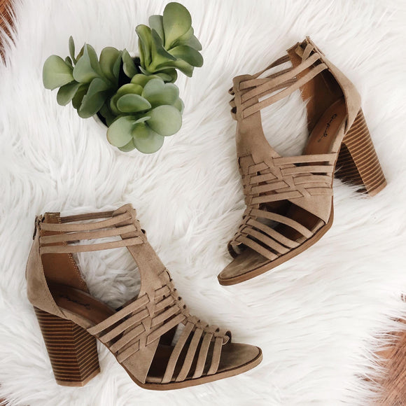 Strappy Chunky Heel Taupe