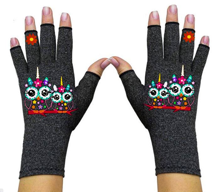 Fingerless Gloves for Arthritis - Arthritis Gloves with Compression - Wrist Wrap - Two Owls