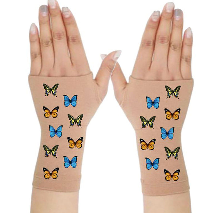Fingerless Gloves Women Arthritis Gloves - Carpal Tunnel Gloves - Crafters Gloves  Compression Gloves - All the Butterflies