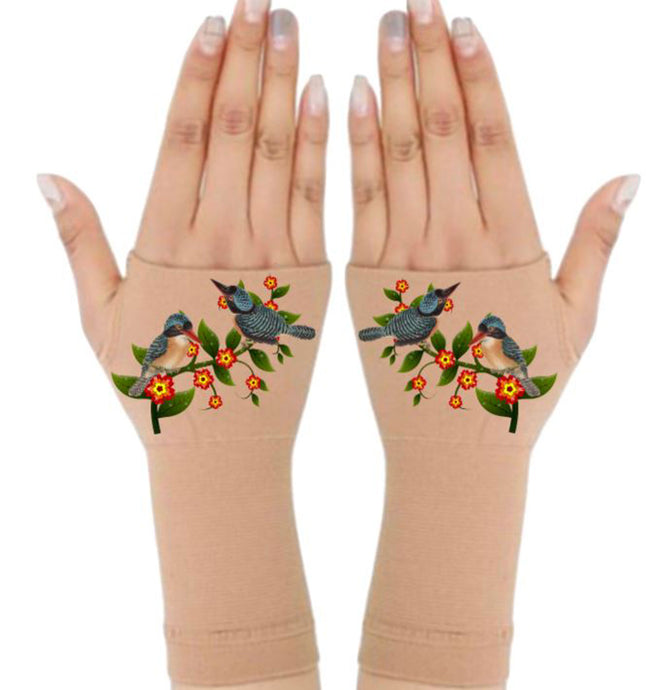 Fingerless Gloves for Arthritis - Arthritis Gloves with Compression - Wrist Wrap - Wrist Support  - Birds & Vine