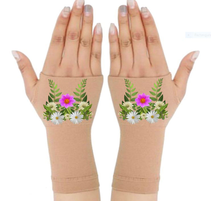 Arthritis  Gloves - Carpal Tunnel Treatment - Wrist Support - Hand Brace - Daisy Foliage