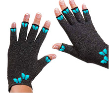 Load image into Gallery viewer, Fingerless Gloves for Arthritis - Arthritis Gloves with Compression - Blue Butterfly