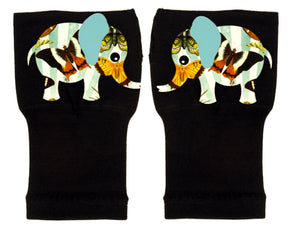 Fingerless Gloves & Wrist Support  Arthritis -  Carpal Tunnel Treatment - Butterfly Print Elephant