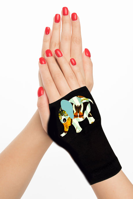 Fingerless Gloves & Wrist Support  Arthritis -  Carpal Tunnel Treatment - Butterfly  Elephant