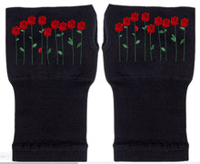 Load image into Gallery viewer, Fingerless Gloves - Arhritis Gloves -  Fingerless Mittens- Wrist Warmer- Gloves Women - Colorful Fingerless Gloves - Field of Roses