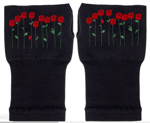 Fingerless Gloves - Arhritis Gloves -  Fingerless Mittens- Wrist Warmer- Gloves Women - Colorful Fingerless Gloves - Field of Roses