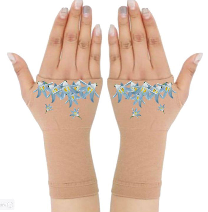 Fingerless Gloves for Arthritis - Arthritis Gloves with Compression - Wrist Wrap - Glacier Flower