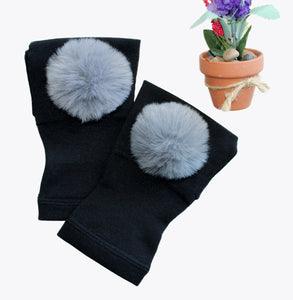 Arthritis  Gloves - Carpal Tunnel Treatment - Wrist Support - Hand Brace - Fur Ball Gray Pair