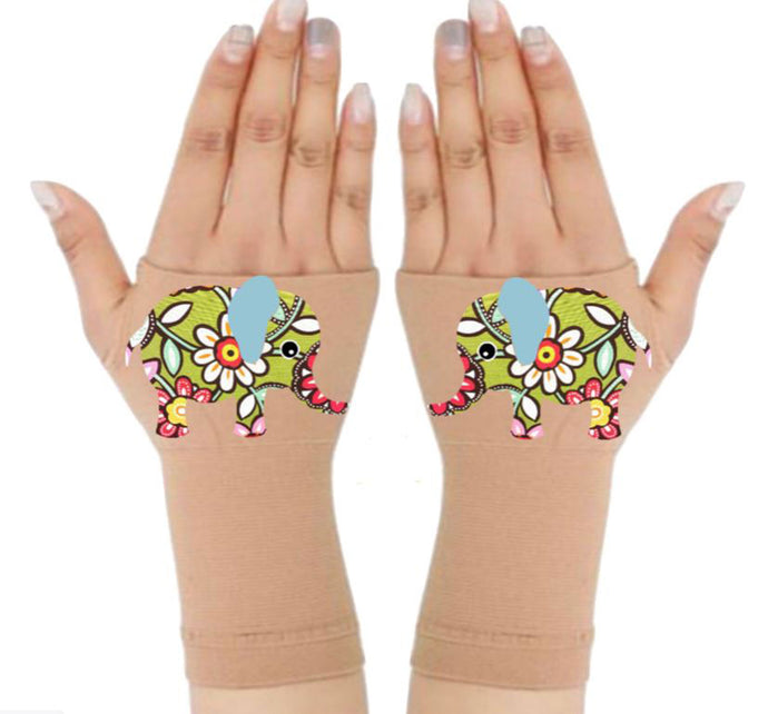 Fingerless Gloves & Wrist Support  Arthritis -  Carpal Tunnel Treatment - Flower Elephant