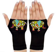 Load image into Gallery viewer, Fingerless Gloves & Wrist Support  Arthritis -  Carpal Tunnel Treatment - Flower Elephant