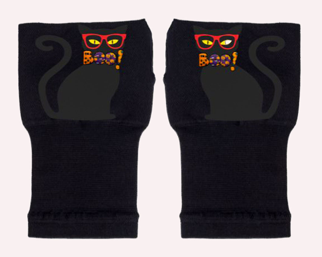 Halloween Arthritis  Gloves -  Wrist Support Carpal Tunnel Relief - Black Cat Boo!