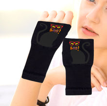 Load image into Gallery viewer, Halloween Arthritis  Gloves -  Wrist Support Carpal Tunnel Relief - Black Cat Boo!