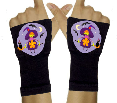 Halloween Arthritis  Gloves -  Wrist Support Carpal Tunnel Relief - Purple Witch