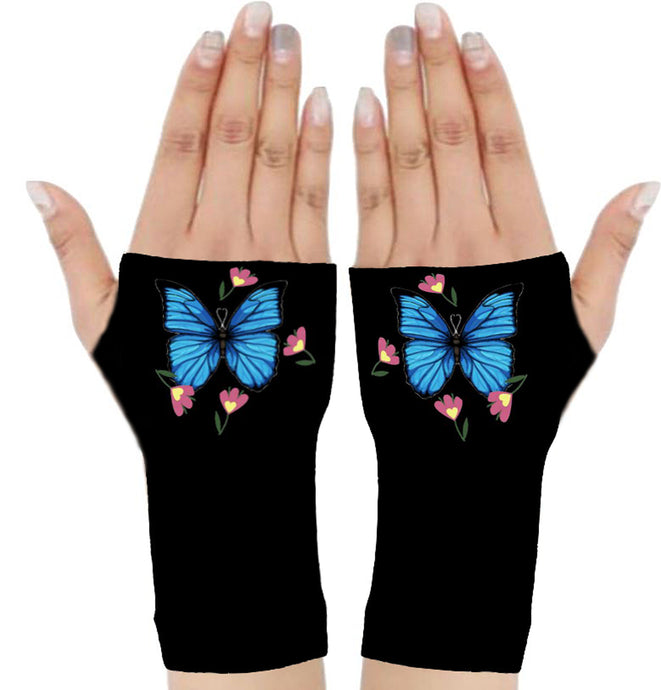 Fingerless Gloves for Arthritis - Compression Gloves - Crafters Gloves - Gloves Women - Arthritis Relief- Therapy Gloves-Elegant Blue
