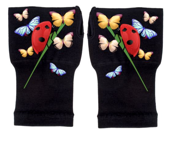 Gloves Arthritis  Hands - Arthritis Compression Gloves - Fingerless Compression Gloves - Ladybug & Friends