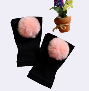 Arthritis  Gloves - Carpal Tunnel Treatment - Wrist Support - Hand Brace - Fur Ball Lt. Pink Pair