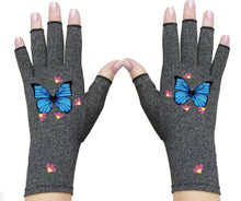 Load image into Gallery viewer, Fingerless Gloves for Arthritis - Compression Gloves - Therapy Arthritis Gloves - Gloves Women - Crafters Glove - Elegant Blue