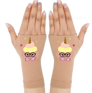 Gloves Arthritis  Hands - Arthritis Compression Gloves - Fingerless Compression Gloves - Poop Unicorn Pink